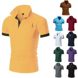 Men-039-s-Casual-Slim-Fit-Polo-Shirt-Tee-Short-Sleeve-Summer-Fashion-T-shirts