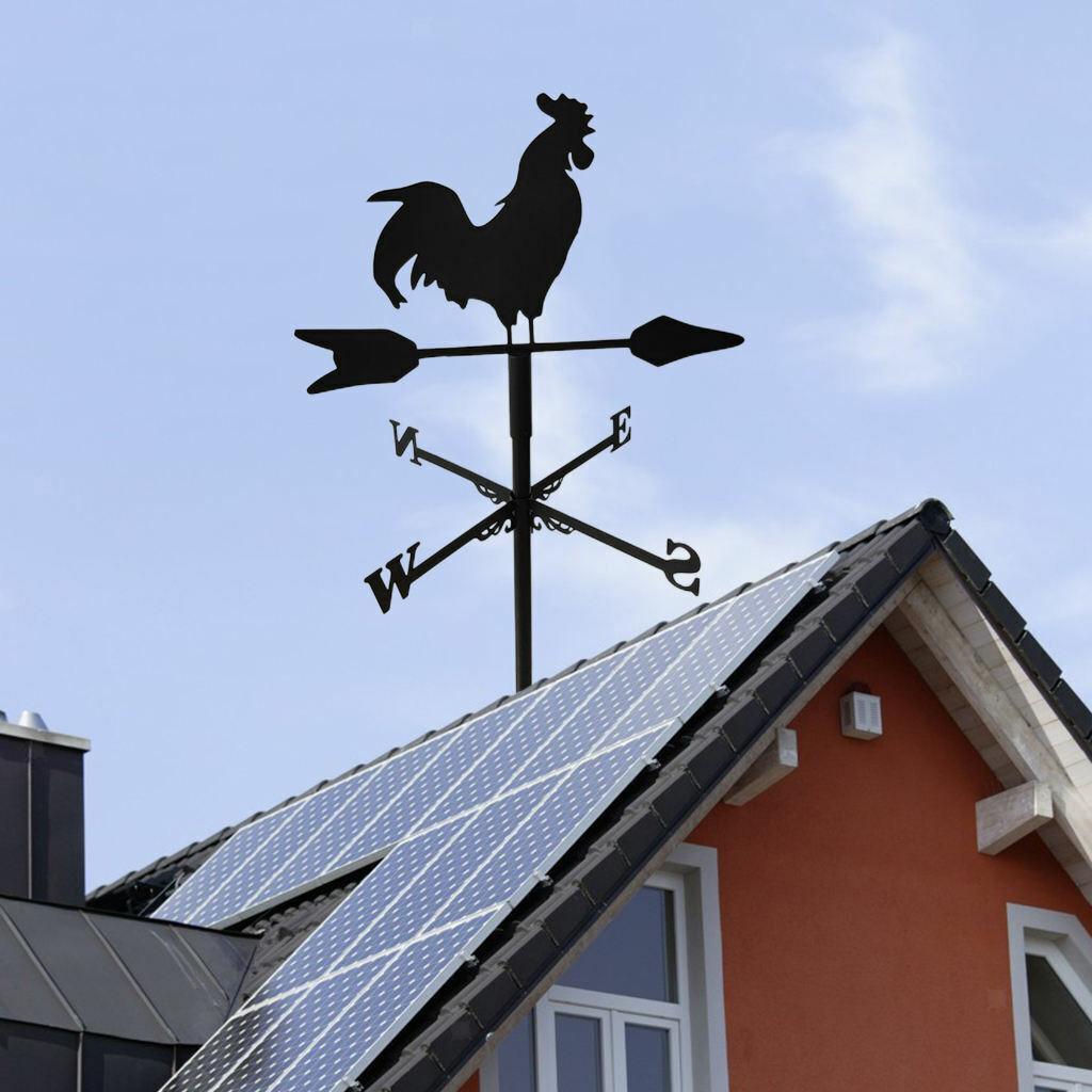 Metal Cock Weathervane Wind Direction Indicator Outdoor Garden Barn Ornament