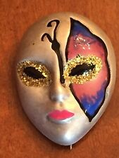 RARE VINTAGE SORINI SIGNED STERLING SILVER.925 HAND PAINTED MASK BROOCH