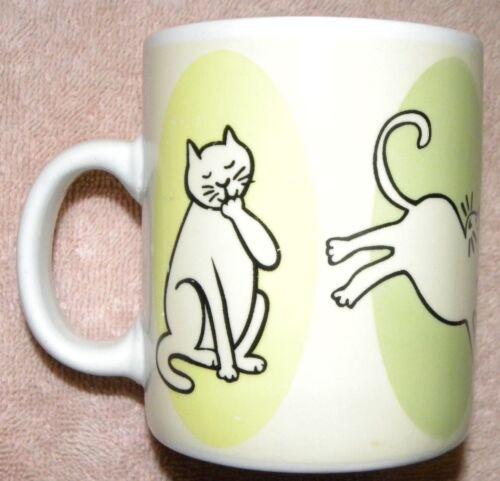 Vintage 2003 TAG Brand Ceramic Cat Mug UNUSED Yellow Green