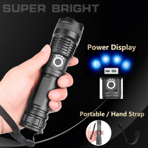 Super Bright 900000 Lumens XHP50 Zoom Flashlight LED Rechargeable Torch Headlamp