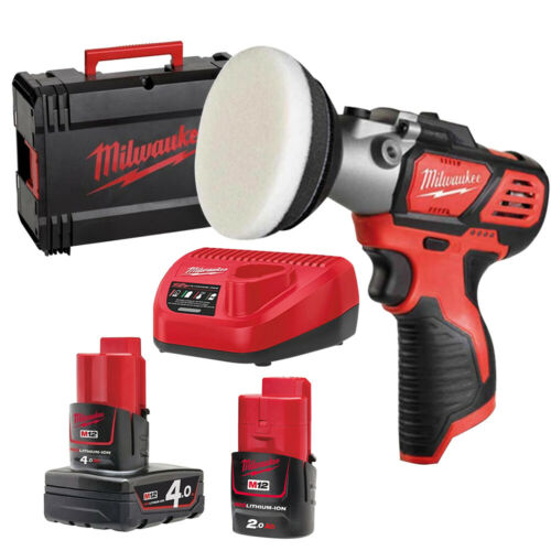 Milwaukee M12BPS-421X 12V Polisher//Sander 1 x 2Ah 1 x 4Ah Battery Charger Case
