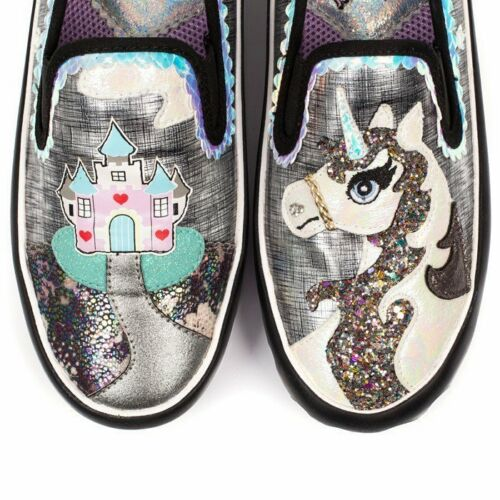 Silver irregolare 6 Castle Dimensione Uk Mistys Black Flat Unicorn Shoes Size 5qnw6wOx