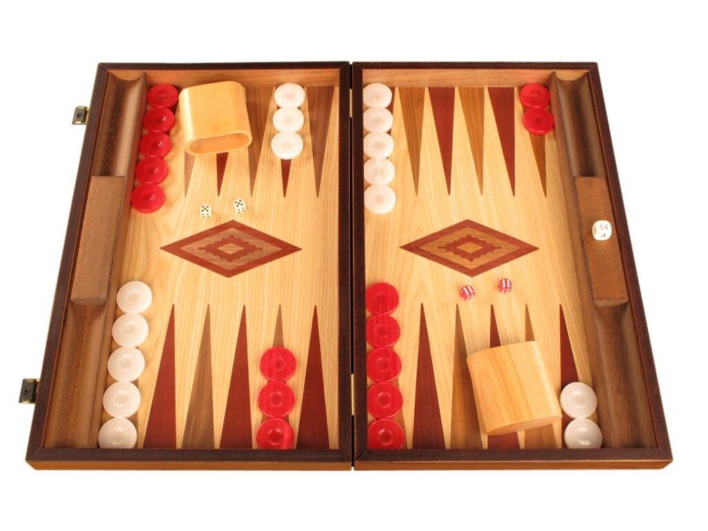 Nogal Y Roble Madera Backgammon Set-Grandes Y Tablero