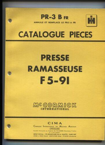 PR-3 B  FR  : Mc Cormick ;catalogue pièces presse ramasseuse F5-91 juin 1961