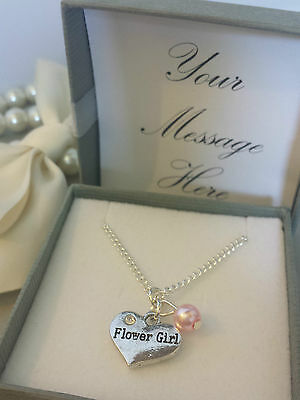 SILVER PLATED NECKLACE IN PERSONALISED GIFT BOX THANK YOU FLOWER GIRL CHARM