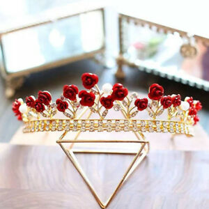 Wedding-Bridal-Red-Rhinestone-Tiara-Crown-Hair-Accessories-Headpiece-Headdress