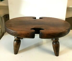 Vintage-Footstool-Ethan-Allen-17-Solid-Wood-Milking-Stool