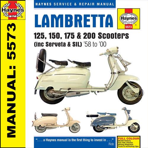 Lambretta Scooter Li125 Li150 TV175 TV200 200GT 1958-2000 Haynes Manual M5573