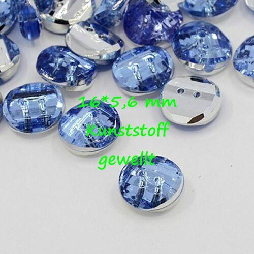 10 Knöpfe Kunsststoffknöpfe mit silberfarbener Unterseite blau Herz Tropfen rund