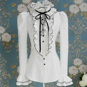 Womens-Sim-Victorian-Frilly-Ruffle-Sleeves-Black-Bow-Tops-High-Neck-Shirt-Blouse