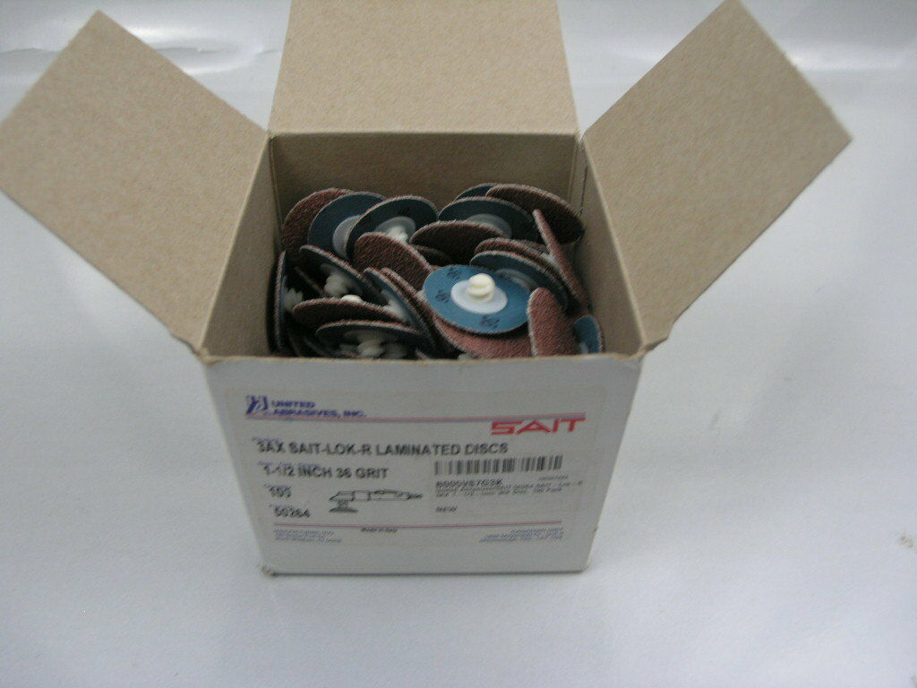 100 Pack United Abrasives-SAIT 50332 Heavy Duty SAIT-Lok-R 2A 3-Inch 50 Laminated Disc