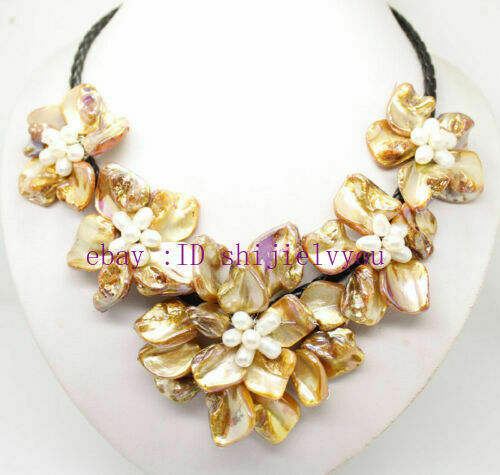 """Natural Pearl /& Or Shell Pearl 5 Fleur Collier Pendentif 18/"""" Long"""