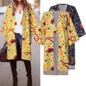 Mode-Femme-Manteau-Simple-Impression-Asymetrique-Manche-Longue-Cardigans-Plus