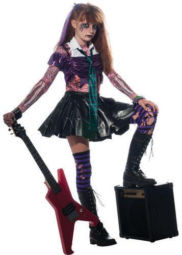 Zombie Girls Punk Rock Halloween Fancy Dress Kids Child Zombet Costume Outfit