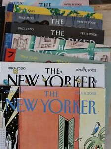 Lot of 10 NEW YORKER MAGAZINES. 2002. See description for dates