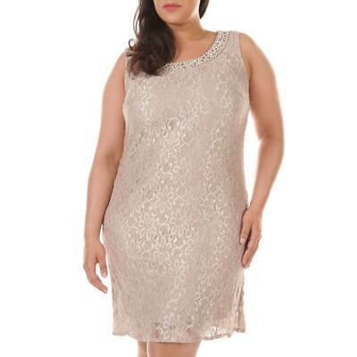 $349 R&M Richards Women\'S Beige Beaded Glitter Lace Sheath Dress Plus Size  14w 707762037083 | eBay
