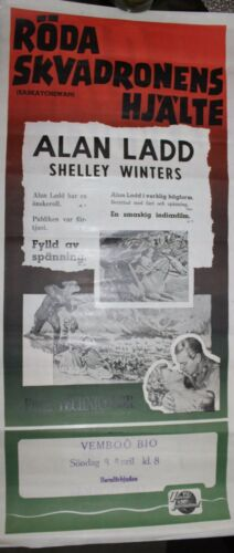 Alan Ladd Shelley Winters original RARE Swedish film poster Saskatchewan