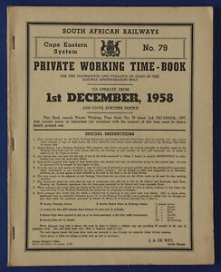 South-African-Railways-Working-Time-Book-Cape-Eastern-79-1st-December-1958