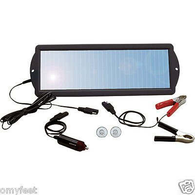 1.5 WATT 12 VOLT SOLAR PANEL 12V BATTERY CHARGER MAINTAINER WITH PLUG & CLIPS