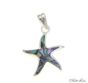 925-Sterling-Silver-Hawaiian-15mm-Starfish-Sea-Star-Abalone-Paua-Shell-Pendant