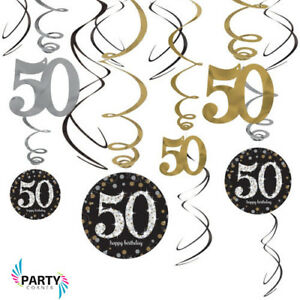 Image Is Loading 50th Birthday Party Supplies Sparkling SWIRL DECORATIONS Pack