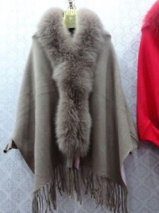 Beautiful Woman Fox Coat Elegant Poncho Fur j95 Cape Collar Real Shawl A5pqnUqd