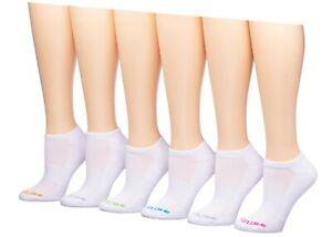 BODY GLOVE Womens Low Cut Socks 6 Pairs Pack 9-11 White Black Neon Sport Cushion