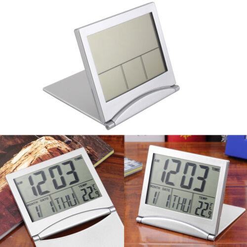 Digital LCD Display Desk Alarm Clock Calendar Date Time Thermometer Travel x 1