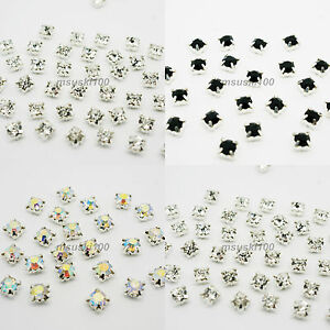 Sew-On-Crystal-Glass-Diamante-Rhinestones-Silver-Setting-4-5-6-8-10mm-NEW