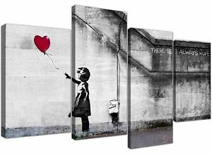f34cbbe5bd6 Extra Large Banksy Canvas Prints Balloon Girl 130cm XL Red