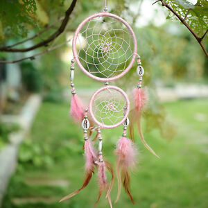 India-Style-Pink-Dream-Catcher-Circular-With-feathers-Wall-Hanging-Decoration
