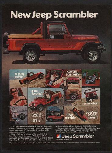 1981 JEEP SCRAMBLER 4X4 Red Pickup Truck 4 Wheel Drive SUV 4WD VINTAGE AD