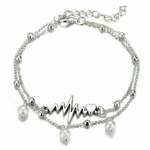 Fashion-Multilayer-Pearl-ECG-Heart-Anklet-Bracelet-Women-Ankle-Jewelry
