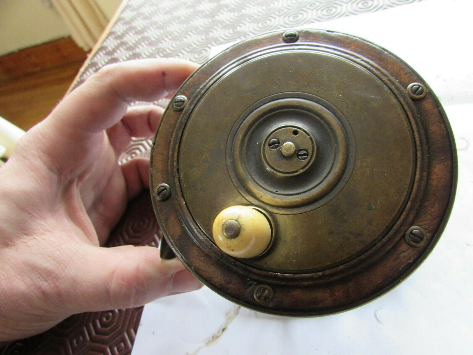 Rare early vintage Farlows rosadowood brass Perth style salmon fishing reel 4.25