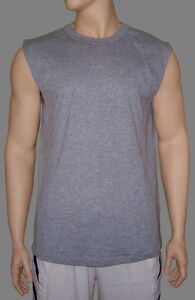 Sleeveless-T-Shirt-Heather-Gray-Lt-Weight-Poly-Cotton-by-High-Five-Men-039-s-Small