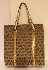 Image Is Loading Michael Kors Sequin Stripes Purse Tote Bag Handbag