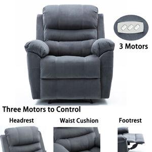 High-End-3-Motors-Power-Recliner-Chair-Vevelt-Fabric-Padded-Arm-Overstuffed-Sofa