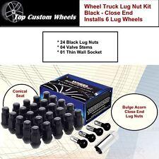 C1709BLX34 Lug Kit Wheel Close End Black Lug Nuts M14x1.5 fit GMC Sierra 99-17