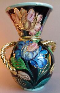 VALLAURIS emblématique grand vase décors de fleurs anses tressées dorées vintage - France - Origine: Vallauris - France