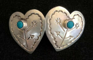 MEXICO-925-Silver-Vintage-Turquoise-Carved-Love-Heart-Stud-Drop-Earrings