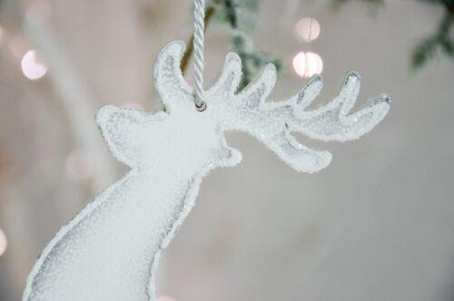 Land Art Anhänger Rentier mi weiß Hirsch Holzanhänger Weihnachten Shabby Chic