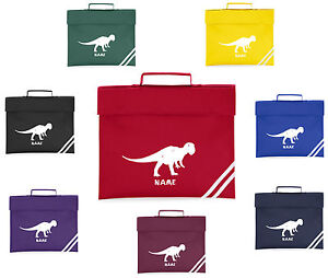 PERSONALISED DINOSAUR BOOK BAG WITH PRINTED NAME SCHOOL MUSIC BOOK ...