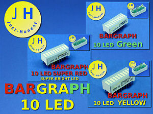 LED-ANZEIGE-BALKENANZEIGE-10-LED-BARGRAPH-Rot-Gruen-Gelb-Red-Green-Yellow