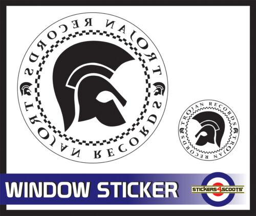 "Trojan White Decal Reverse Window Sticker 180mm 7/""  VW Camper Car Large  ws10"