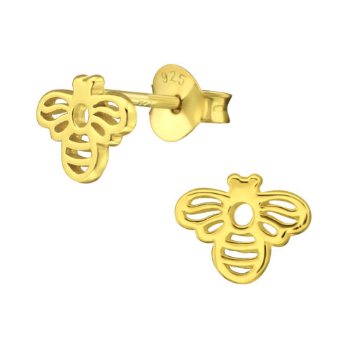 14ct Gold-Plated 925 Sterling Silver Bee Stud Earrings