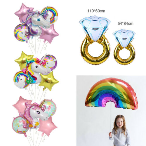 Large Rainbow Gold Diamond Ring  Unicorn Foil Ballon Wedding Birthay Party Decor