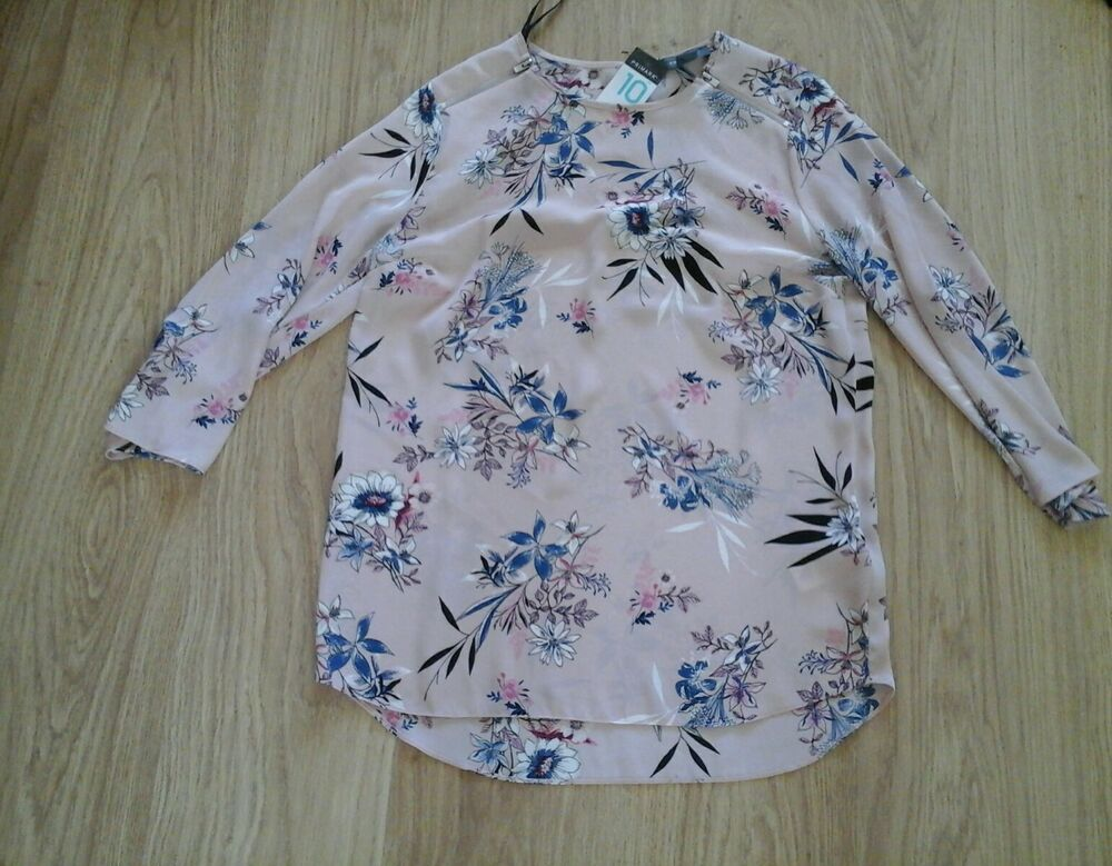 Bnwt Taille 10 Rose Poudré Floral Patterned Mousseline Top