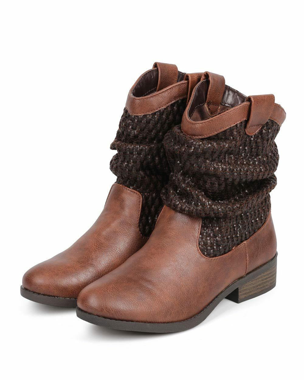New Women Qupid Plateau-76 Distressed PU Raffia Cowboy Slouch Riding Boot Size