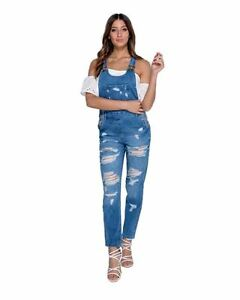 Damas-Mujeres-con-aspecto-envejecido-Rip-Detalle-Denim-Azul-Vestido-Playsuit-Mono-Peto